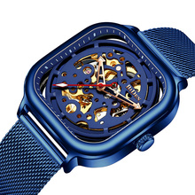 Fashion Mens Blue Watches Automatic Mechanical Watch Mesh Strap Hollow Skeleton Dial Watches for Men Reloj Hombre Montre Homme все цены
