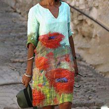 40 # vestidos vintage flora impresso feminino verão casual plus size vestidos com decote em v meados de manga vestido de cintura alta longos de verao