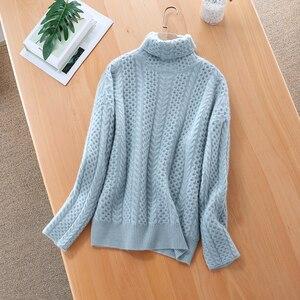 Image 4 - 2019 חדש אופנה כפול לעבות loose גולף קשמיר סוודר נשי ארוך שרוול לסרוג סוודר מוצק סוודרי נשים חולצות