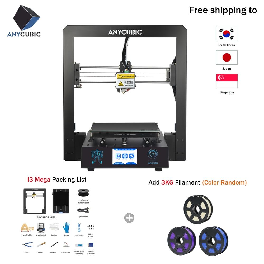 Free Shipping ANYCUBIC I3 Mega 3D Printer Kit Large Printing Plus Size Full  Metal Frame 3D Drucker Impresora