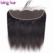 Bling cabelo transparente 13x4 fechamento frontal do laço peruano em linha reta fechamento do cabelo humano marrom 4x4 fechamento do laço remy cabelo 8-22 Polegada