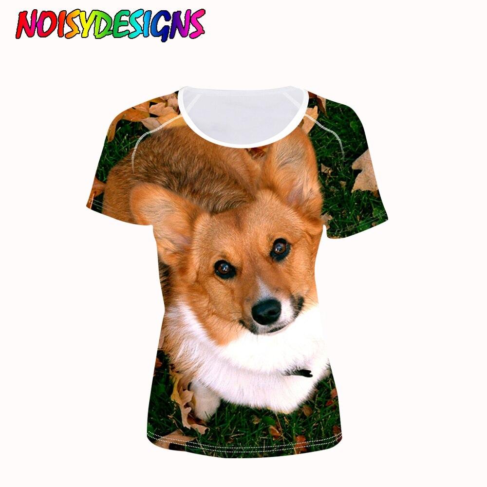 NOISYDESIGNS T-shirts Women Tops Tees 3D Welsh Corgi Pembroke Animal T Shirt Women Fashion Tshirts Vetement Femme T Shirts Top