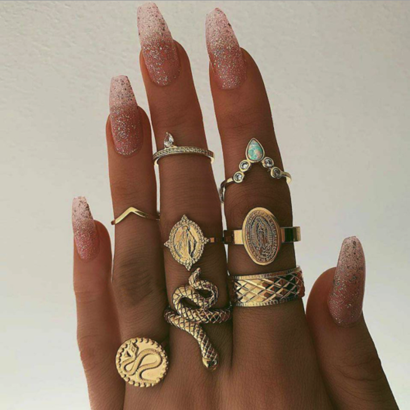 docona Punk Gold Color Snake Statue Carving Ring Set for Women Gypsy Coins Geometric Knuckle Midi Rings Anillos 8pcs/set 8852