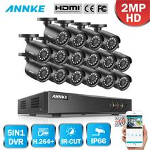 ANNKE 1080P H.264+ 16CH CCTV Camera DVR System 16pcs IP66 Waterproof 2.0MP Bullet Cameras Home Video Security CCTV Kit