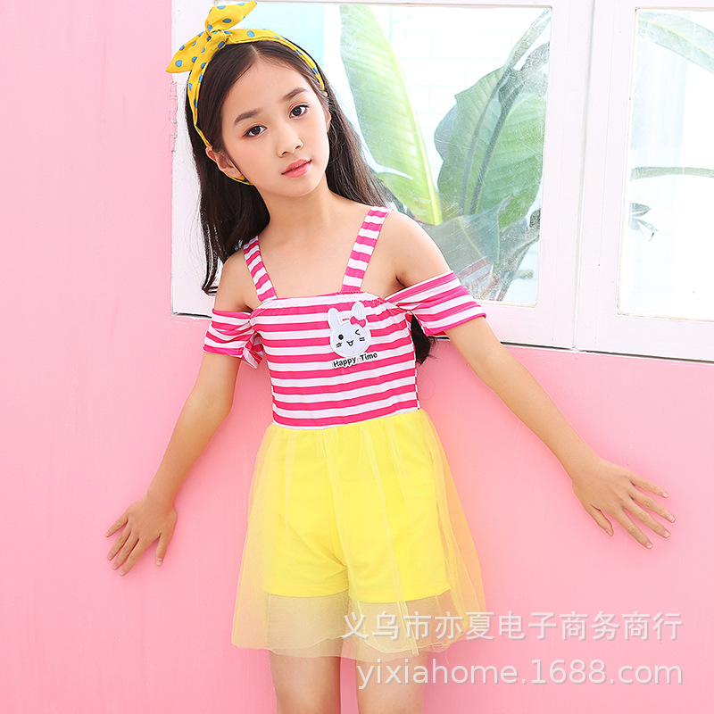 2019 Hot Sales Girls Dress-Bathing Suit GIRL'S Princess Big Boy Tour Bathing Suit Students 6-8-10-Year-Old One-piece Swimwear