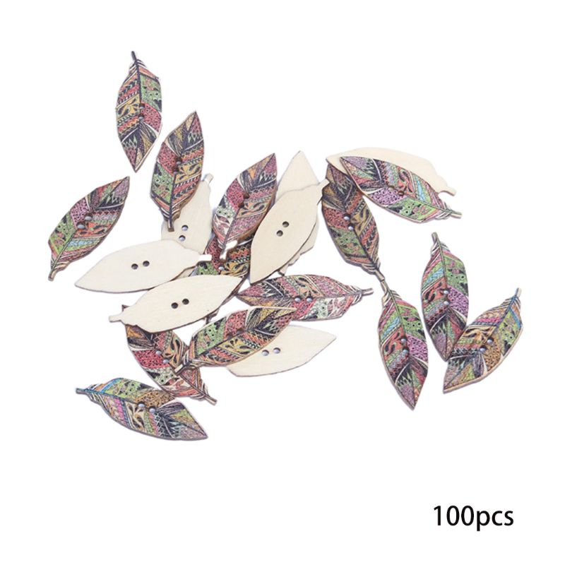 100Pcs Vintage Colorful Patterned Feather Leaf Shape Wooden Button For DIY Craft AXYD