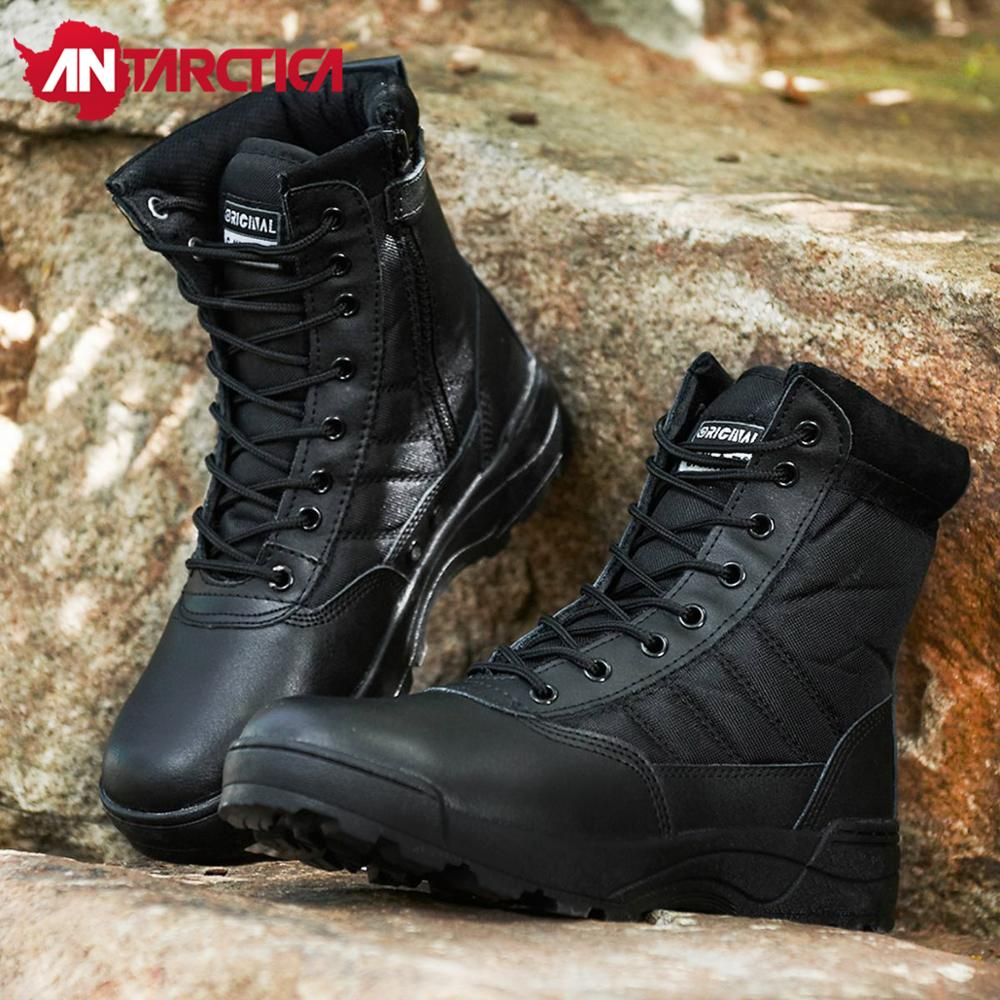 SWAT Zipper Lightweight Hiking Shoes Men Military Tactical Combat Layer leather Work Sport Boots Nylon Waterproof Sneakers Women image