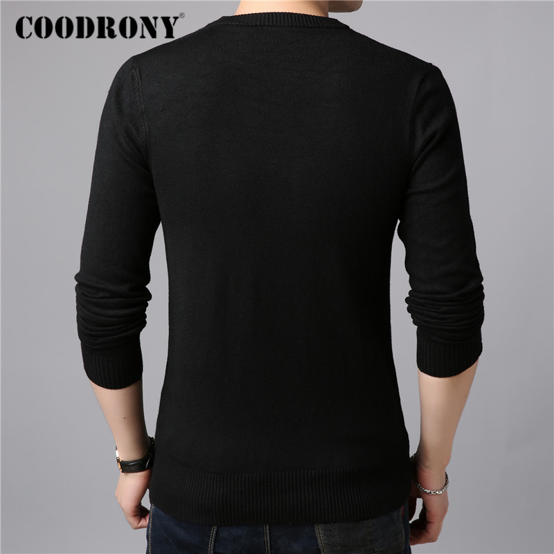 COODRONY Brand Sweater Men Classic Casual O-Neck Pull Homme Winter Thick Warm Knitwear Pullover Men Pure Color Jersey Male C1004