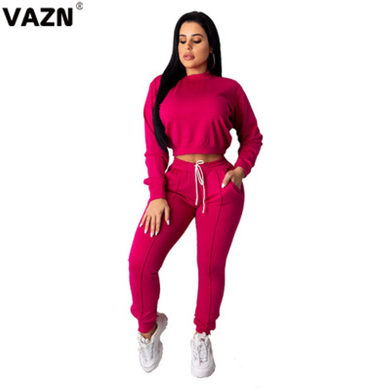 VAZN Lace-Up New 2020 Brand Fashion Casual Women 2-Pieces Sets O-Neck Full Sleeve Ladies Hollow Out Regular Long Jumpsuits Sets
