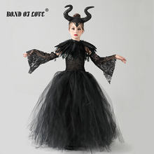 Halloween Costume for Kids Black Devil Tutu Costume Gothic Girls Fancy Tutu Dress with Feather Shawl Cosplay Costume