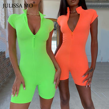 JULISSA MO Neon Women Bodycon Playsuits 2019 Autumn Short Sleeve Zipper Rompers Fashion Skinny Push Up Fitness Jumpsuits Shorts to4rooms люстра julissa