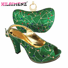 Retro Style African Ladies Shoes and Bag to Match in Green Color Special Design with Shinning Crystal Italian Best Match for Par(China)