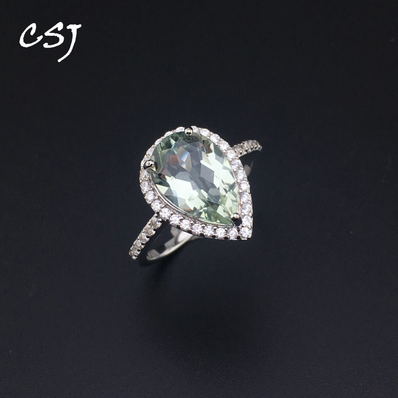 CSJ Green Amethyst Rings Sterling 925 Silver Natural Gemstone Pear 8*12mm Women Lady Wedding Engagment Party Gift Box