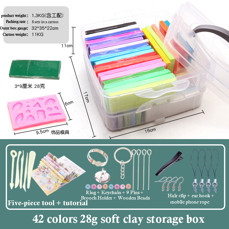 32 Color 3D Clay Plasticine Portable Box New Clay Creative Puzzle Tool Set Polymer Modeling Clay Oven Bake Clay 24pc Clay Mold