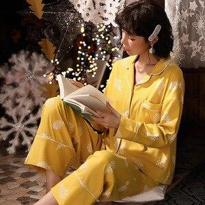 Image 5 - 2019 yeni pamuk pijama sonbahar kış baskılı gecelikler seksi yeşil pijama pijama takım elbise rahat uyku seti sevimli karikatür ev tekstili