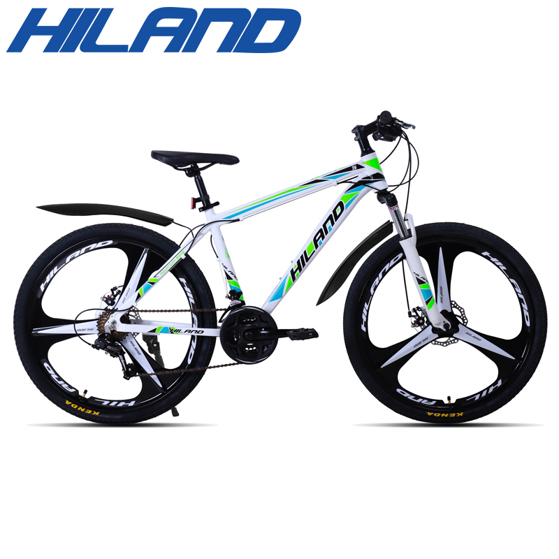 HILAND 26 inch 21 Speed Aluminum Alloy Suspension Bike Double Disc Brake Mountain Bike Bicycle with Service and Free Gifts 2
