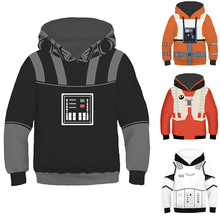 Kids War Of Star Black Knight Vader Hooded Luke Fancy Clothes White Storm Trooper 3D Print Costumes New Movie Role Set