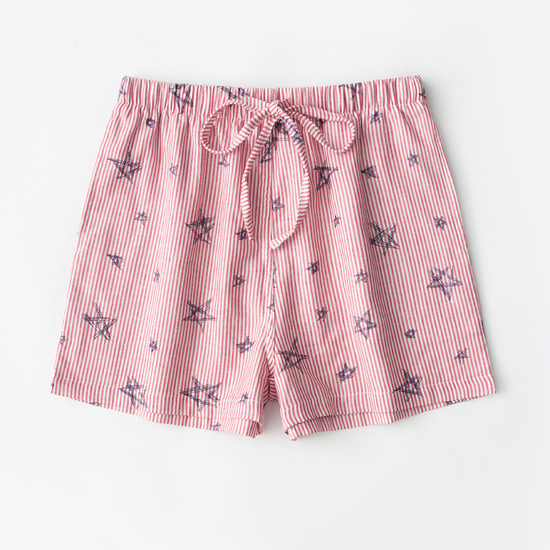 Psychological 26-Spring Summer Pure Cotton Couples Gauze Pajama Pants 100% Cotton Shorts Women's Home Pants Loose And Plus-sized