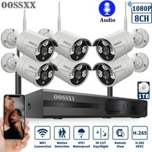 OOSSXX 8CH ไร้สาย 1080P ระบบกล้องรักษาความปลอดภัย NVR 6pcs 2MP เสียงบันทึก HD กล้องวงจรปิดไร้สาย IP กล้องการเฝ้าระวังวิดีโอ