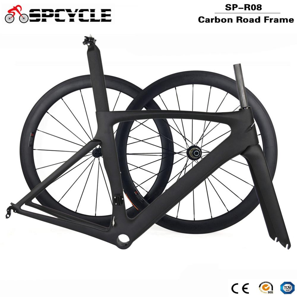 Spcycle 700C Aero Full Carbon Road Bike Frame Wheelset Racing Bicycle Carbon Frameset And 50mm Wheelset Size 49/52/54/56/58cm