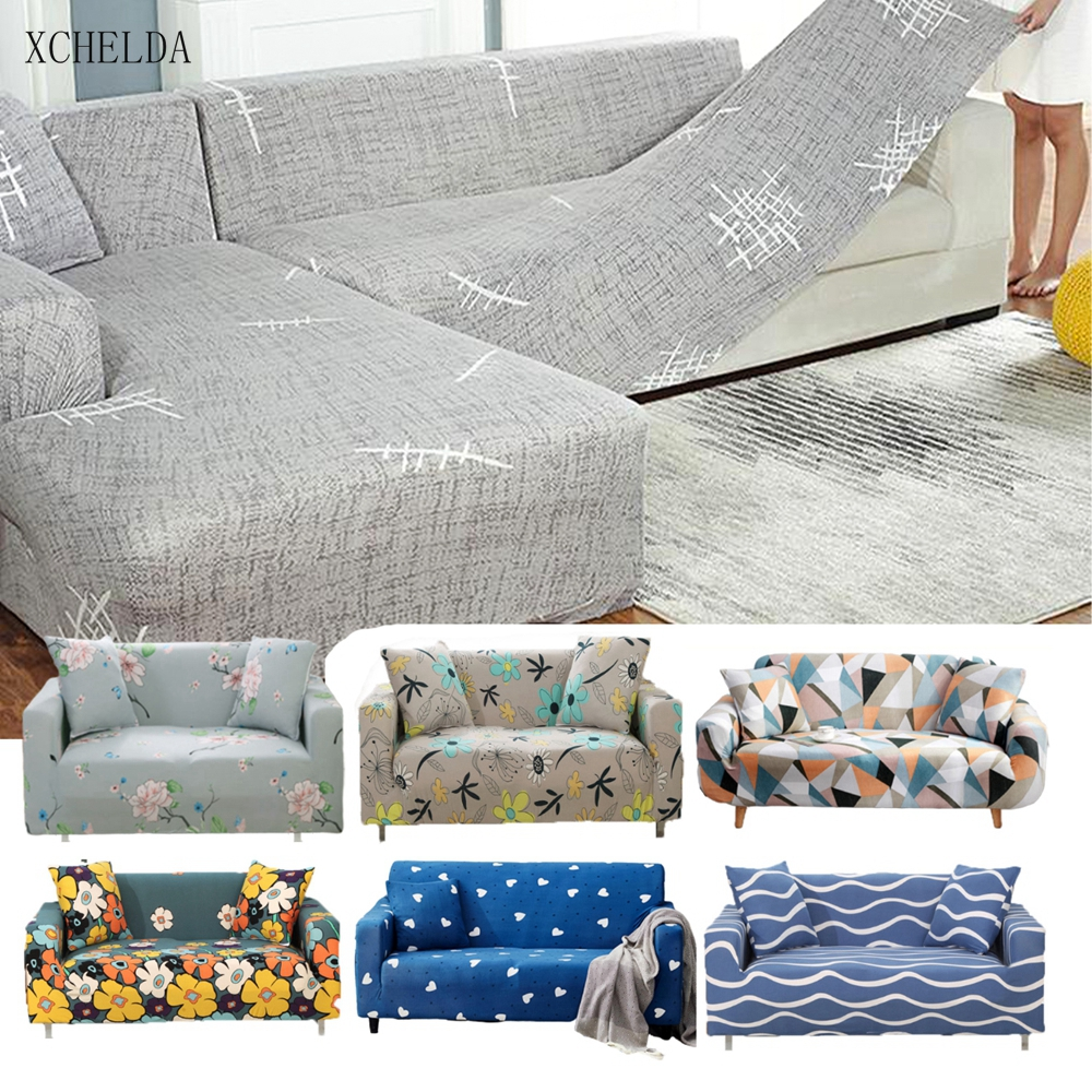 Modern Elastic Grey Stretch Couch Armchair Slipcover Protector Armrest 1 2 3 4 Seater Place L Shape Corner Sectional Sofa Cover