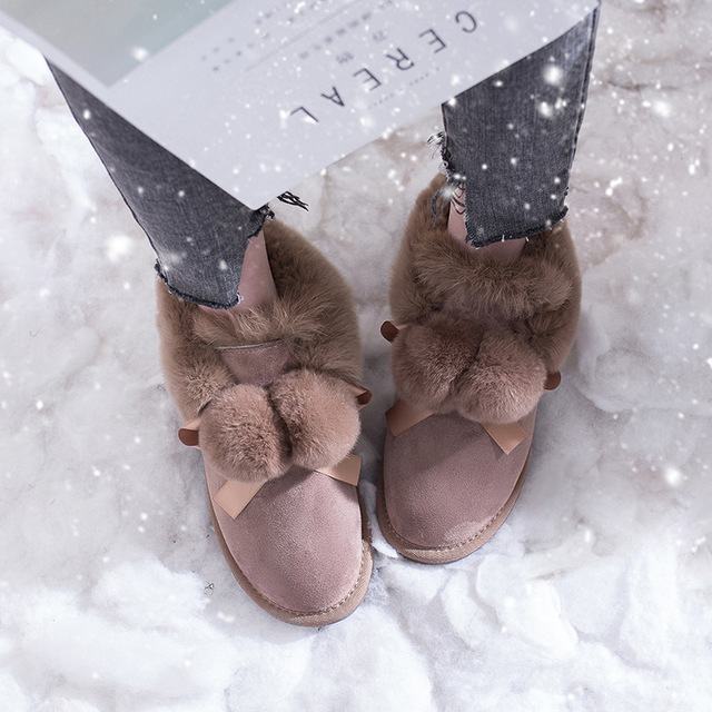 SWYIVY Winter Shoes Women 2019 New Snow Boots Women Pom pom Fur Warm Ankle Boots Female Casual Shoes Black Thick Non slip Botas