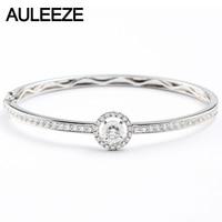 AULEEZE 14K White Gold Real Diamond Bangle 585 White Gold Natural Diamond Lathe Flowers Slice Bracelet Office Lady Jewelry