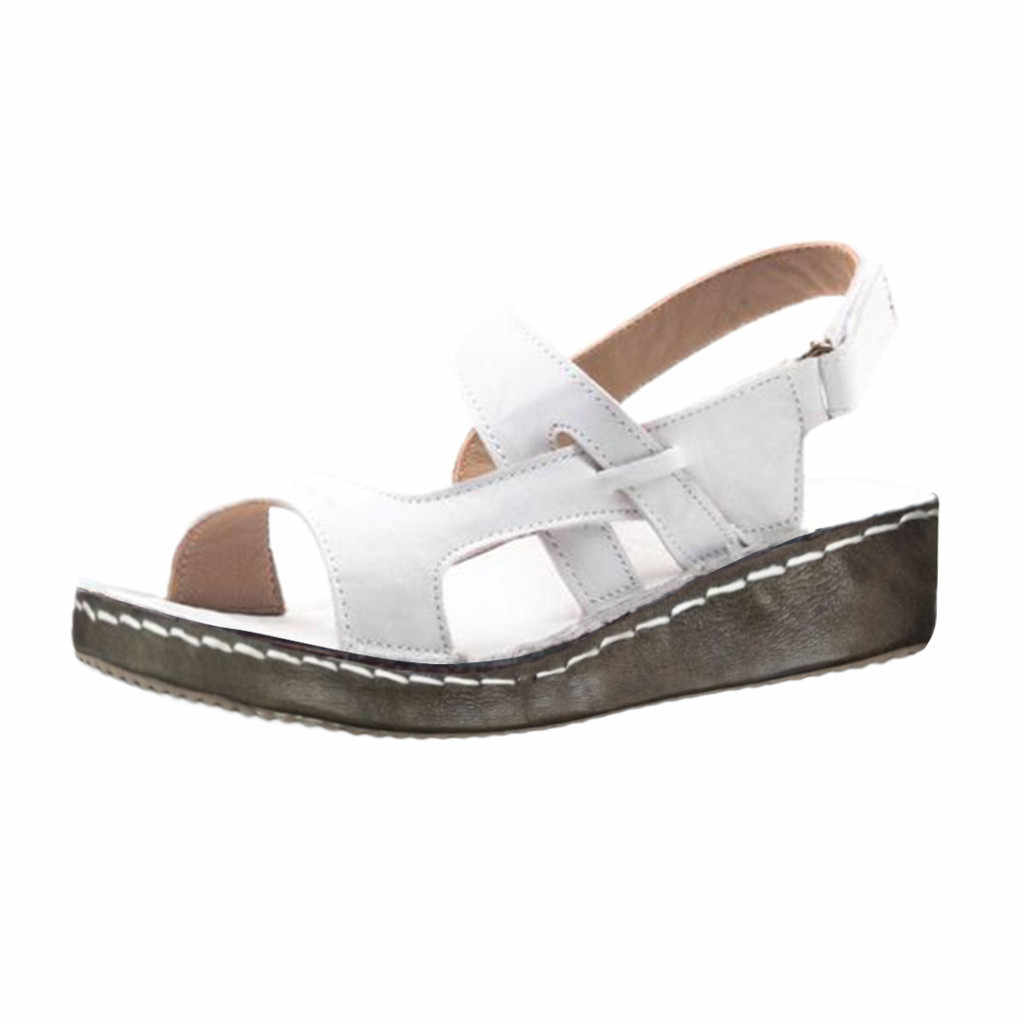 Frauen Aushöhlen Keil Schnalle Sandalen Sommer Casual Aushöhlen Schuhe frauen schuhe komfort zapatos de mujer tacon negro # g10