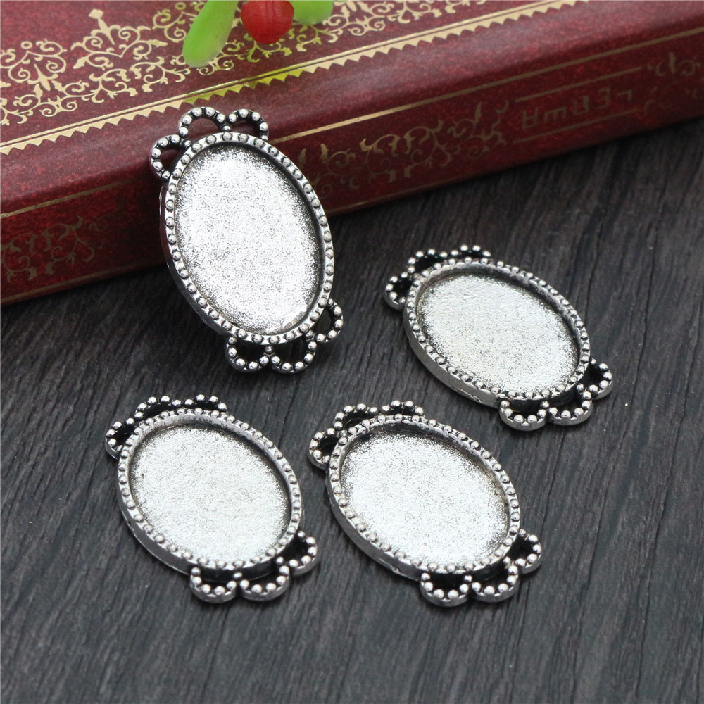 4pcs 13x18mm Inner Size Antique Silver Plated Simple Style Cameo Cabochon Base Setting Charms Pendant Necklace Findings (D4-36)
