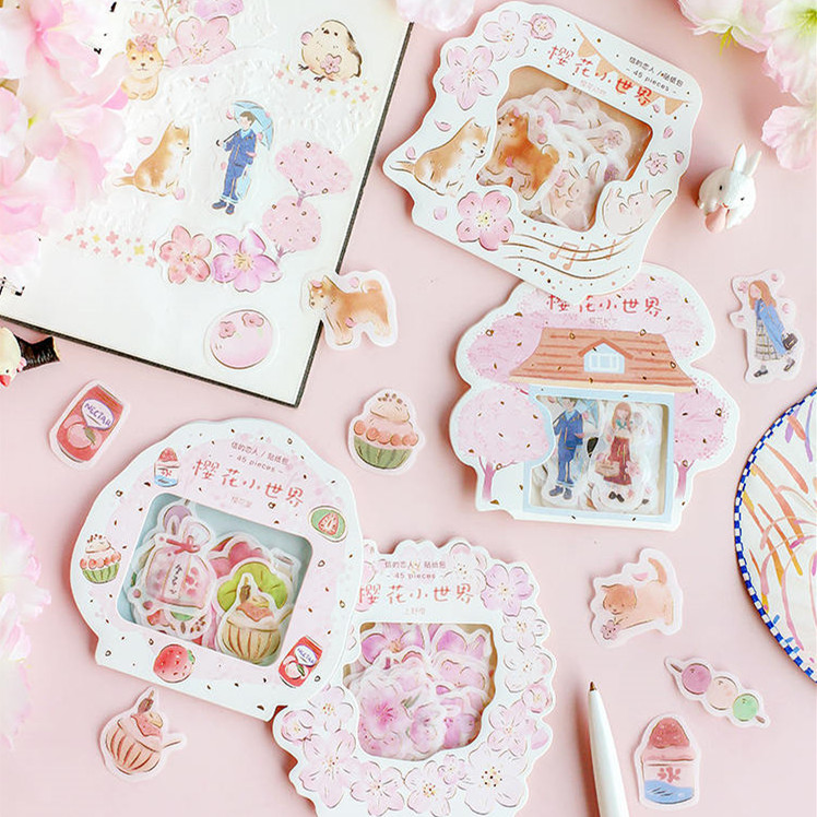 45pcs Stickers Beautiful Cherry Blossom Sticker Flakes Stationary Scrapbooking Girl School Supplies