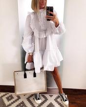 Sexy High Neck Dress Women Elegant High Neck Long Sleeve Autumn Knee Length Dress Ruffle Solid White Chiffon Dresses Vestidos