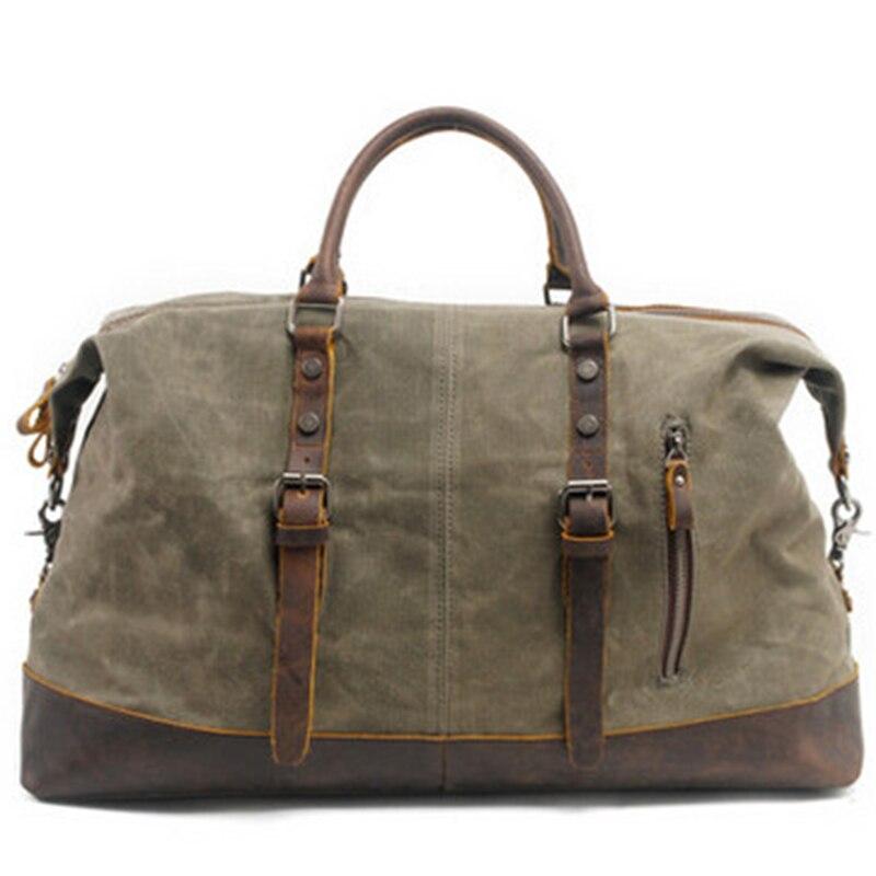 Vintage Canvas Leather Men'S Travel Bag Carry-On Bag Men'S Large-Capacity Handbag Green
