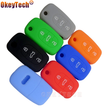 OkeyTech New skin silicone rubber car key fob cover case set for Audi A2 A3 A4 A6 A8 TT flip folding remote repair protect shell
