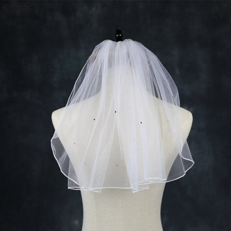 Crystal Pearl Veil Tulle Bridal Accessorie Wedding Veils With Comb One Layer Bride Wedding Vail Flower Girl Veil Velos De Novia