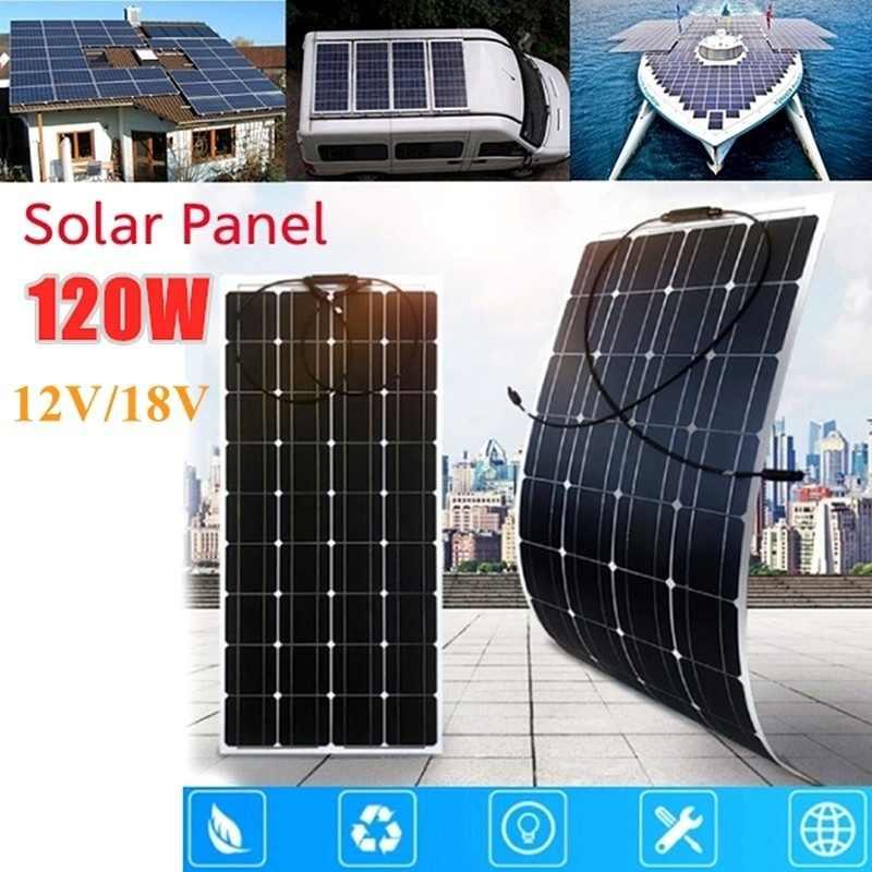 120W 36 komórek 18V elastyczny panel słoneczny z 20A kontroler słoneczny do ładowania akumulatora 12V łodzi RV przyczepy kempingowej