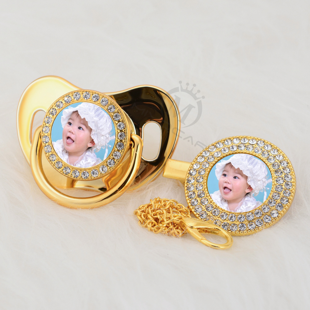 MIYOCAR Custom Any Name Photo Gold Bling Pacifier And Pacifier Clip BPA Free Dummy Bling Amazing Design P-P
