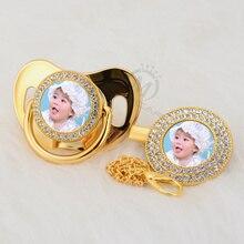 MIYOCAR custom qualquer nome da foto do ouro manequim chupeta e clipe chupeta BPA livre de bling bling design surpreendente P P