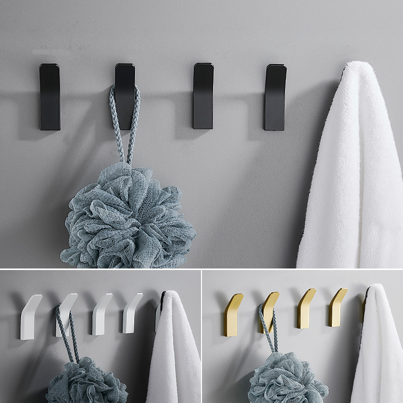 H663991c0353b470e91da632f67e630819 - Perforated Black-Free Clothes Hooks Alumimum White Wall Hanging for Bathroom Bedroom Modern Wall Hanger Hook Bath Accessories