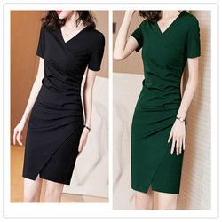 Summer Women Split Folds Short Sleeve V-Neck A-Line Black Dark Green Simple Elegant Plus Size Holiday Cocktail Dresses 9629
