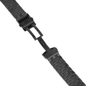 Image 5 - Luxe 22/20mm argent/noir solide lien acier inoxydable Bracelet de montre 24mm pliant fermoir montres de sécurité Bracelet Bracelet remplacement