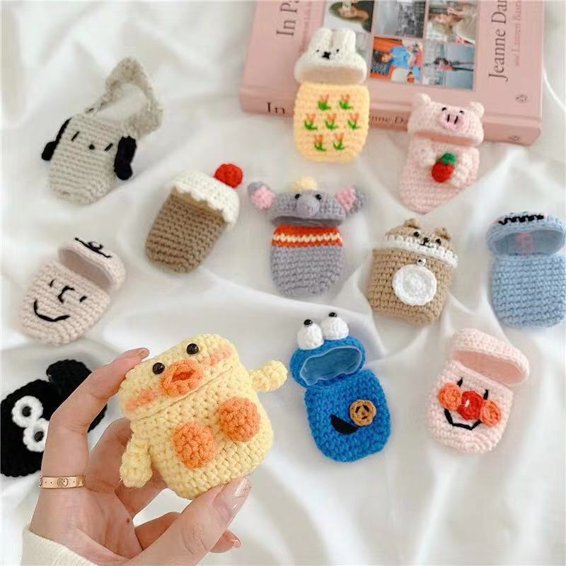 Winter Knit Rabbit Elephant Key Ring Case Cover For Apple Airpods 1/2 Earphone Cases Bluetooth Headphone Bag Air Pods Lanyard