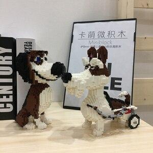 Image 2 - PZX Beagle Hound sznaucer jamnik owczarek pies zwierzę domowe Model zwierzęcia DIY Mini diamentowe klocki klocki zabawki do budowania dzieci bez pudełka