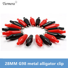 28MM Metal Alligator Clip G98 Crocodile Electrical Clamp Testing Probe Meter Black Red with Plastic Boot Car Auto Battery 20Pcs 50pcs 100pcs single handle alligator clip nickel plating 50mm iron clamp for testing electric probe meter crocodile clip