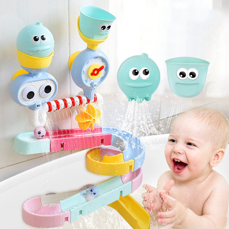 Baby bath toy Suction cup track water games toys summer children's play water Bathroom bath shower water toy kids Birthday Gifts image