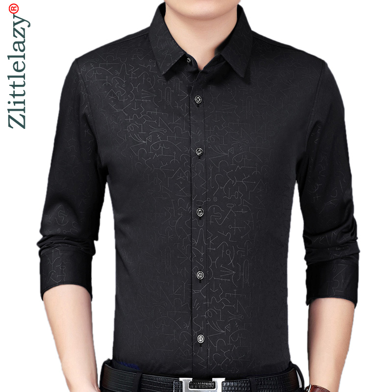 2019 Brand Casual Luxury Autumn Long Sleeve Slim Fit Men Shirt Streetwear Social Dress Vintage Shirts Mens Fashions Jersey 90339