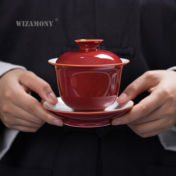 WIZAMONY 140ml Kung Fu teaset tea set Gaiwan Cup Bowl Hand painted Jingdezhen Elegant teapot kettle Coffee Cup Chinese Tea Pot фото