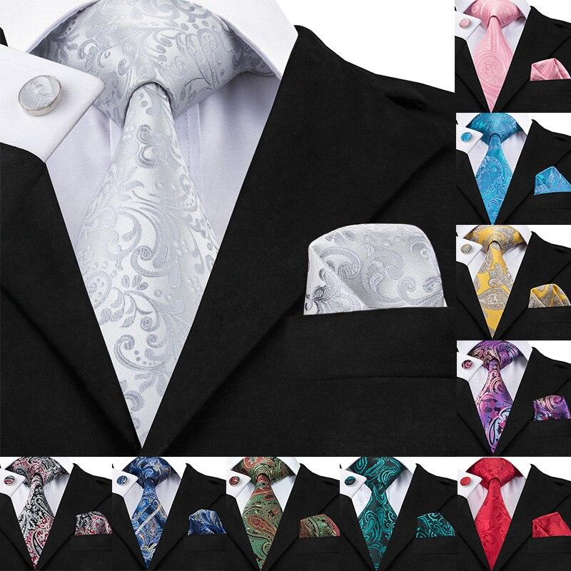 C-1169 2017 Floral Mens Tie Set Silver White Jacquard Silk Tie Pocket Square Cufflinks 8.5cm Classic Ties For Men Corbatas