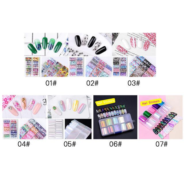 10 Rolls/Box Holographic Nail Foils Sticker