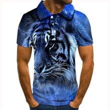Мужская рубашка поло tiger plus высокое качество 3d принт животные
