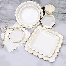 Одноразовые столовые приборы, вечерние, золотые, белые, бумажные тарелки, соломинки, чашки, набор, для дня рождения, вечеринки, свадьбы, Декор, для детей, для душа, вечерние принадлежности